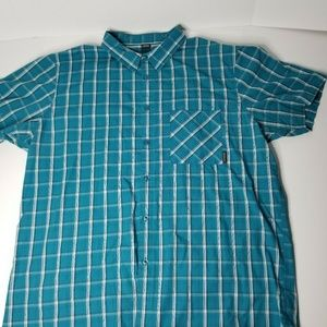 Oakley Mens XXL Short Sleeve Button Up Blue Shirt